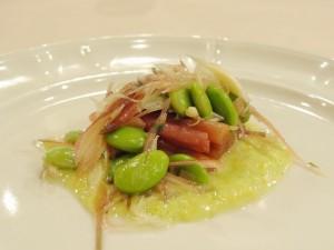 ずいき、枝豆、みょうがのグリーンガスパチョソース