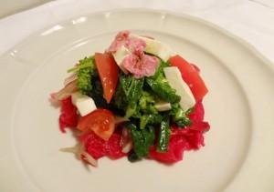 切り干し、ヤーコン、菜花、桜花、モッツアレラサラダ