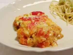玄米もちのラザニア風 なすのトマト煮カレークリームソース