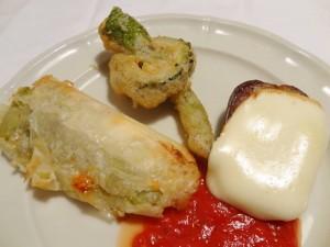 長なすの焼き春巻、えんぴつなす スカモルツァチーズのグリル、ゴウヤと甘長唐辛子のフリット